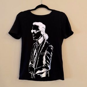 KARL LAGERFELD Black T-Shirt White Drawing